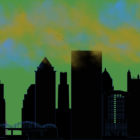 illustration of pittsburgh city skyline and hazy polluted sky.