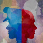 Collage of profiled silhouettes, including one of a cop in blue and one of a person in red.
