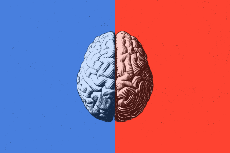 Photo of a brain with a blue background on half and then a red background on the other half.