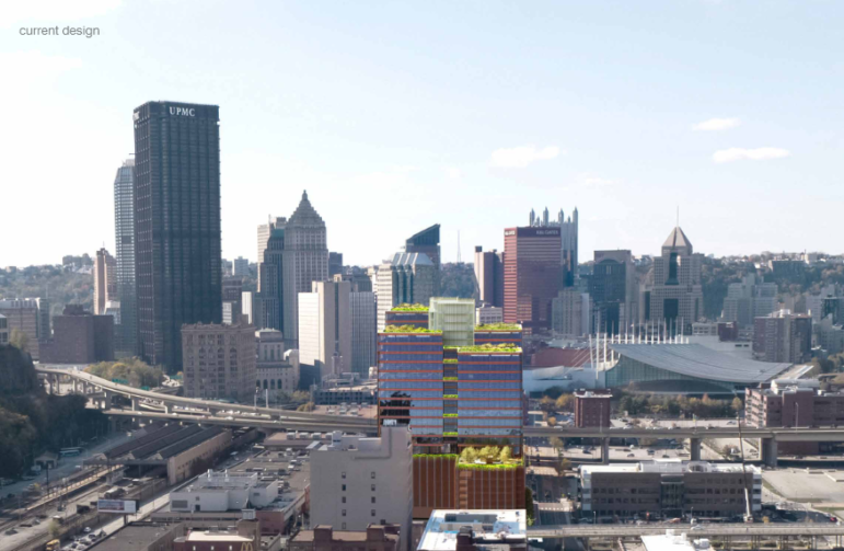 An artist's rendering of an office tower proposed by JMC Holdings for 1501 Penn Ave., presented to the City Planning Commission on Nov. 24, 2020.