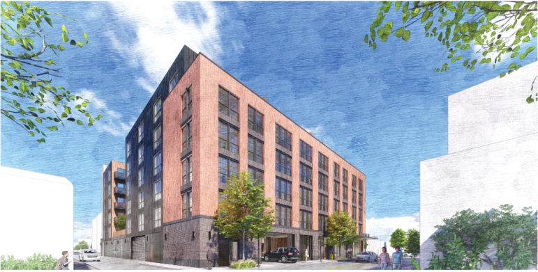 An artist's rendering of a building proposed for the corner of Penn Avenue and 32nd Street, in the Strip District, presented by Oxide Real Estate Development to the City Planning Commission on Nov. 24, 2020.
