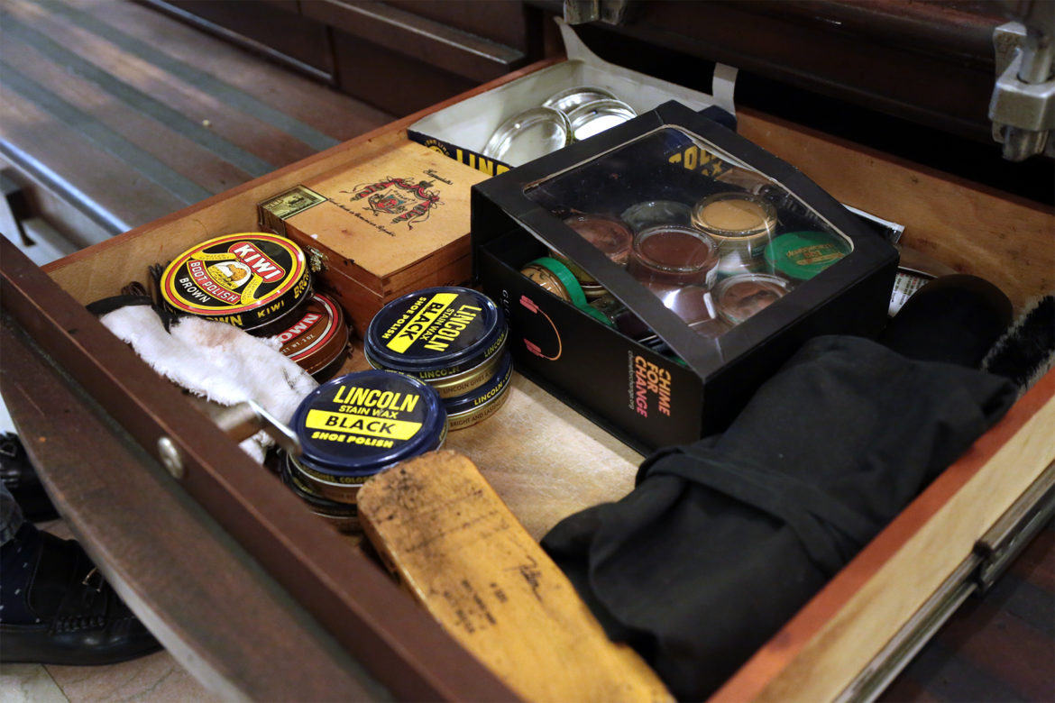 Supplies in a drawer at Arnie Newsome's shoeshine station in the Grant Building in Downtown Pittsburgh. (Photo by Ryan Loew/PublicSource)