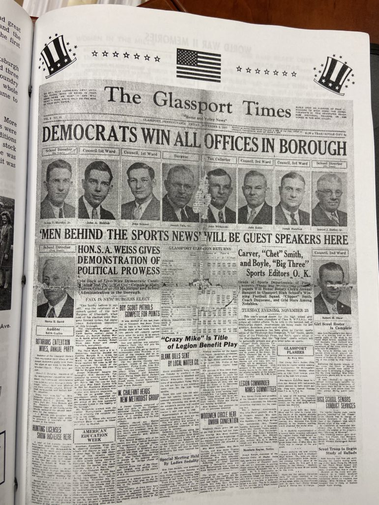 A copy of the front page of The Glassport Times, Nov. 5, 1937, found in an unofficial history of Glassport Borough. (Photo by Rich Lord/PublicSource)