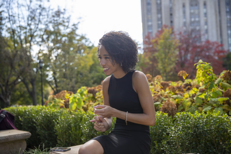 Morgan Overton talks about her path to the Gender Equity Commission on the campus of her alma mater, the University of Pittsburgh. (Photo by Jay Manning/PublicSource)
