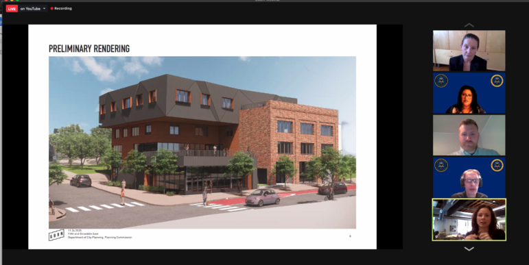 An artist's rendering of the proposed conversion of a Pittsburgh Department of Public Works building in Crawford-Roberts into offices, retail and community space, as presented to the City Planning Commission on Nov. 10, 2020. (Screenshot)