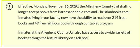 Screenshot of the policy, taken from Allegheny County Jail's website.