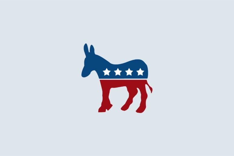 Democratic donkey on blue bacgkround