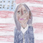 A drawing by Asha McCormick of Vice President-Elect Kamala Harris in front of an American flag.