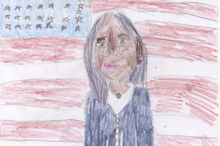 A drawing by Asha McCormick of Kamala Harris in front of an American flag.