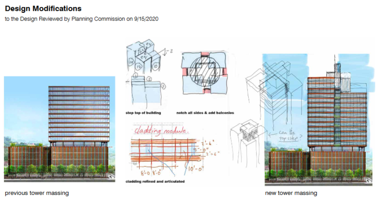 Artist's renderings of the original design (left) for a proposed Strip District office tower, and the new design by architect Brandon Haw, from materials submitted to the Pittsburgh City Planning Commission.