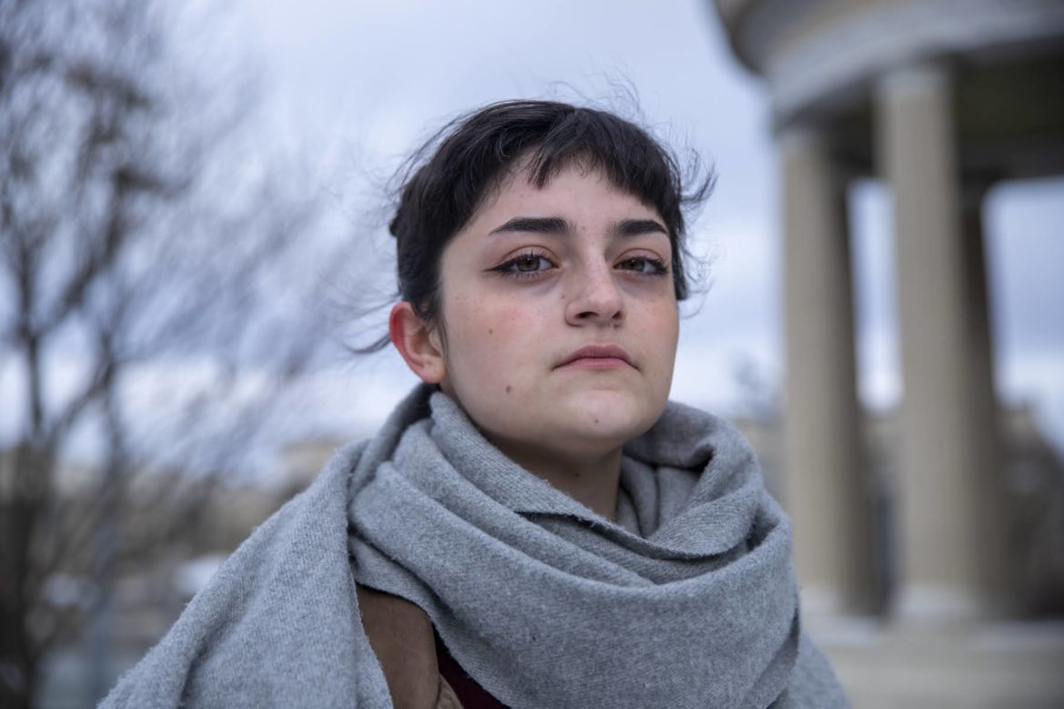 Darya Kharabi, a senior undergraduate at Carnegie Mellon, recalled the first month of the Trump administration as being a painful one. They said hearing about the Muslim-targeted travel ban was difficult because they knew from family and friends how hard it is for people to gain citizenship in the United States. (Photo by Jay Manning/PublicSource)