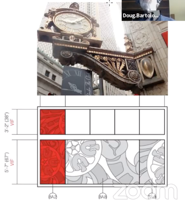 Downtown Pittsburgh's iconic Kaufmann's clock, along with branding proposed for the renovated facade of the building, presented by Target architect Doug Bartolomeo to Pittsburgh's City Planning Commission in a virtual meeting on Dec. 8, 2020. (Screenshot)