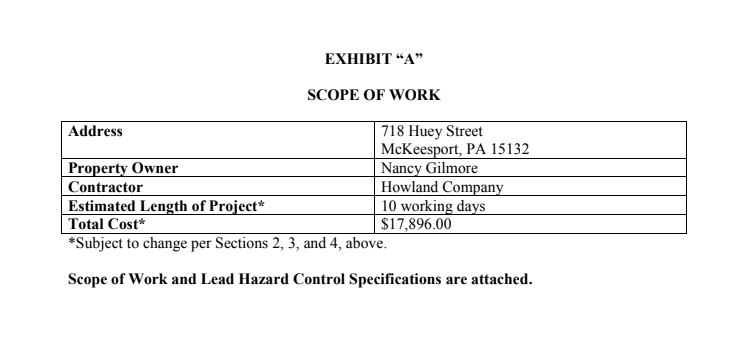 An excerpt from a scope of work provided to Nancy Cox-Gilmore by the Allegheny Lead Safe Homes Program.