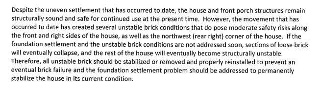 An excerpt from a report by Taylor Structural Engineers regarding Nancy Cox-Gilmore's house on Huey Street in McKeesport.