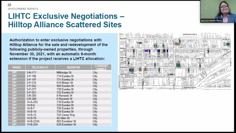 Jessica Smith Perry, the Urban Redevelopment Authority's director of housing lending and investments, describes a planned sale of Allentown lots to the Hilltop Alliance during a Dec. 10, 2020 meeting of the URA Board, conducted via Zoom. (Screenshot)