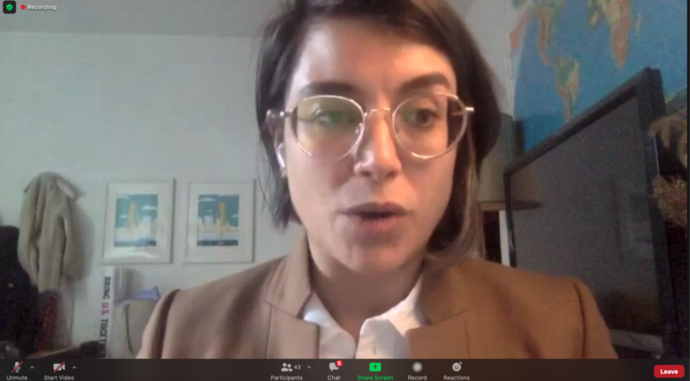 In a remote press conference with other General Assembly Democrats, state Rep. Sara Innamorato, D-Lawrenceville, speaks in support of a moratorium on evictions and foreclosures, on Jan. 4, 2021. (Screenshot)