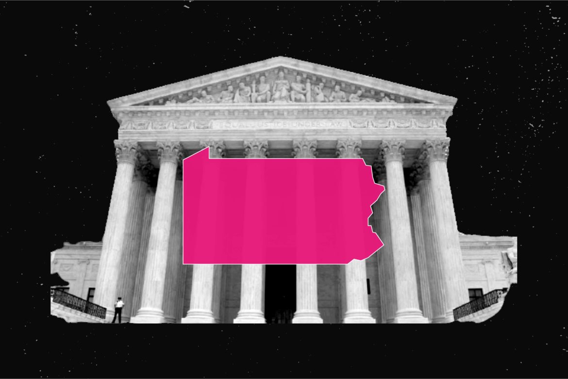 Photo of the supreme court and pink colored state of Pennsylvania icon.
