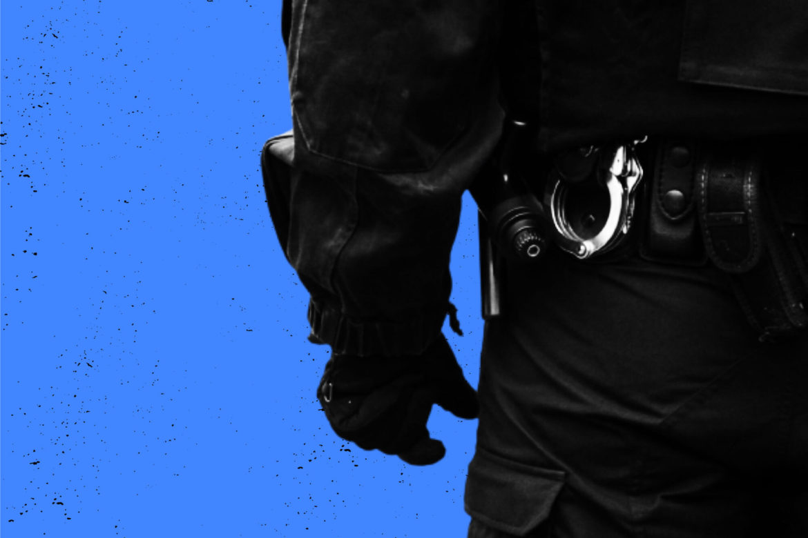 Partial silhouette of police officer with handcuffs. (Map by Natasha Vicens/PublicSource)