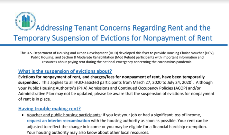 Excerpt from a memo to tenants from the federal Department of Housing and Urban Development, which was distributed by the Allegheny County Housing Authority in response to rising delinquencies.