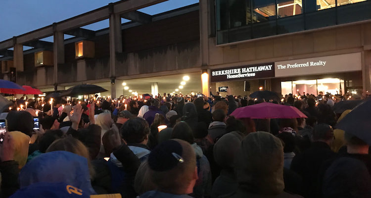 (Pittsburghers gather at a vigil for the Tree of Life shooting victims on Oct. 27, 2018. Photo by Bill O'Toole.)