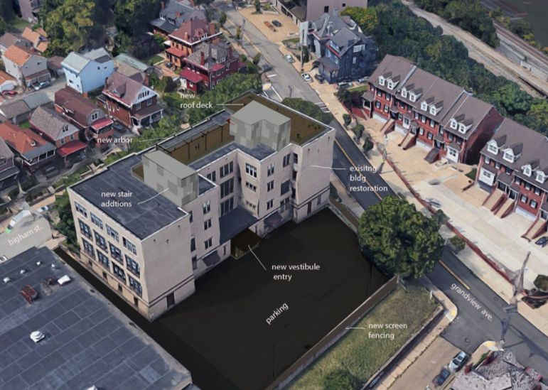 The Saint Mary's on the Mount Catholic School building, which a developer plans to convert into Grandview Lofts, in a photo provided to the City Planning Commission on Jan. 12, 2021.
