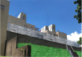 An artist's rendering of the anticipated view from Mt. Washington's Amabell Street to the proposed Grandview Lofts project, submitted to the City Planning Commission on Jan. 12, 2021.