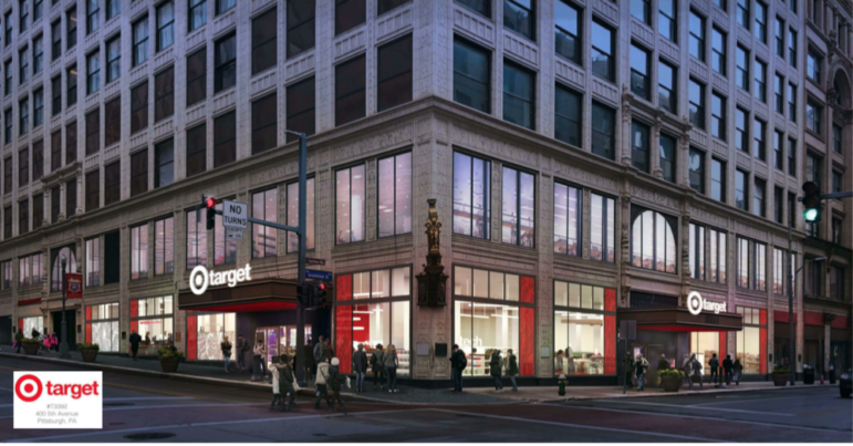 Target's planned approach to the first-floor windows of the former Kaufmann's building, in Downtown Pittsburgh, in a rendering submitted to the City Planning Commission on Jan. 12, 2021.
