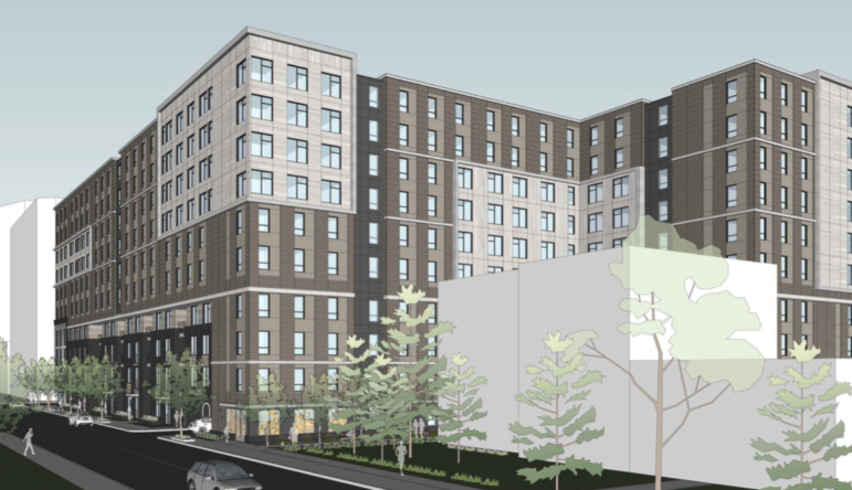 An artist's rendering of a 10-story apartment building proposed for Forbes Avenue, submitted by CA Ventures and Dwell Design Studies to the City Planning Commission on Jan. 26, 2021.