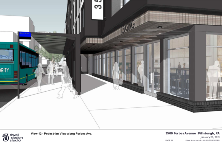 An artist's rendering of the Bus Rapid Transit station that would flank a proposed new apartment building along Forbes Avenue, submitted by CA Ventures and Dwell Design Studio to the City Planning Commission on Jan. 26, 2021.