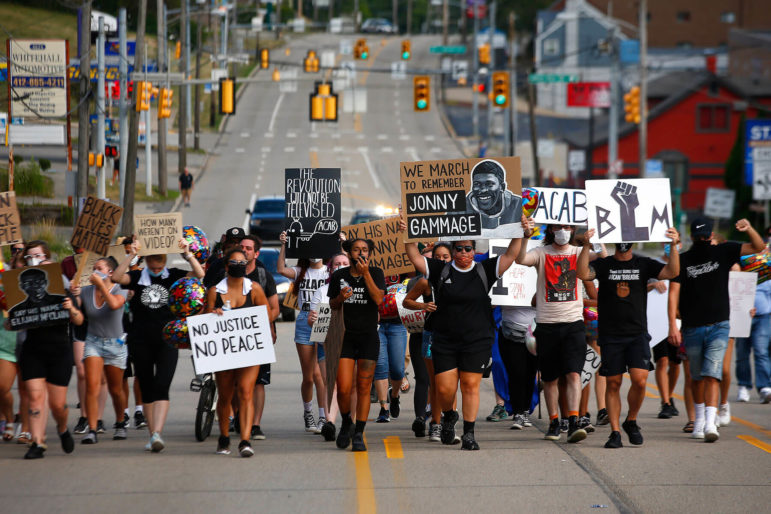 A youth-organized Black Lives Matter protest, led by organizer Camille Redman, marched along Route 51 in Brentwood on Mon., July 20, 2020 in honor of Jonny Gammage, who was killed by police in 1995. (Photo by Jared Wickerham/Pittsburgh City Paper)