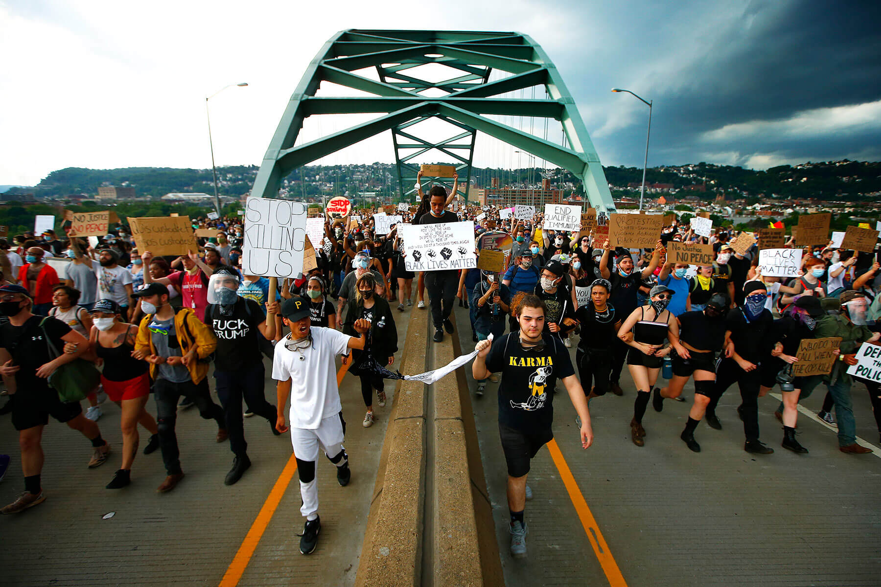 Black Lives Matter protesters march through Downtown Pittsburgh, the South Side, and the Hill District on Thu., June 4, 2020. (Photo by Jared Wickerham/Pittsburgh City Paper)