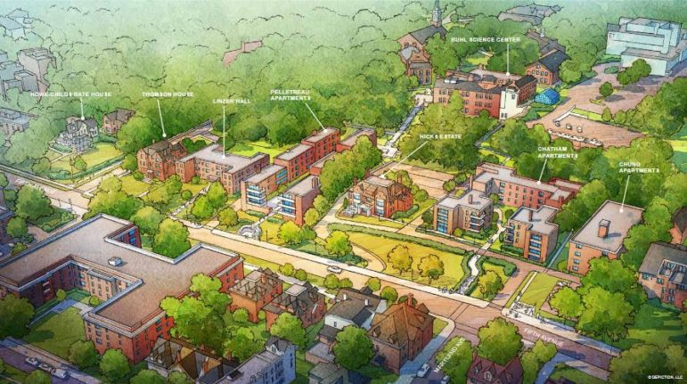 An artist's rendering of Chatham University's campus, presented to the City Planning Commission on Feb. 9, 2021.