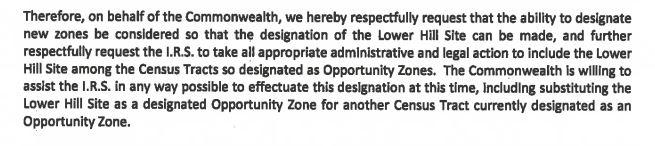 Paragraph from Pennsylvania Department of Community and Economic Development Secretary Dennis Davin to then-U.S. Treasury Secretary Steven T. Mnuchin, of April 1, 2019.