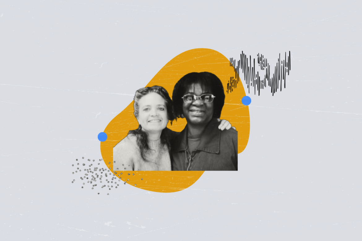 "Etta Cetera (left) and Avis Lee (right) at SCI Cambridge Springs Prison in Crawford County, PA. Etta and Avis co-founded Let's Get Free: The Women and Trans Prisoner Defense Committee in 2013, to end death by incarceration and to challenge the ""outdated and dysfunctional"" commutation process in Pennsylvania. (Photo illustration by Natasha Vicens/PublicSource)"