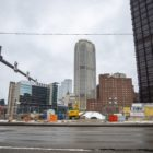 View of Downtown Pittsburgh from near the site of the former Civic Arena, where the Penguins are leading a redevelopment effort, in February 2021. (Photo by Jay Manning/PublicSource)