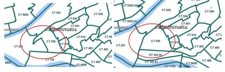 Maps showing the former boundaries of Census Tract 305 (left) and the new boundary announced Feb. 2, courtesy of the Hill Community Development Corp.