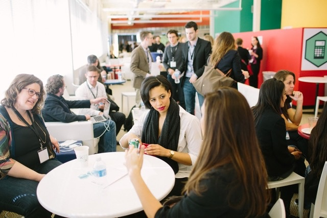 Educators networking at a Remake Learning event in 2014. Photo by Ben Filio for Remake Learning.