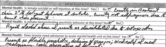 A screenshot of a portion of a jail clearance form with responses written in cursive.