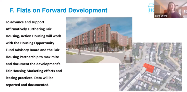 Sara Shore, an Urban Redevelopment Authority lending analyst, presents information on the Flats on Forward proposal to the Housing Opportunity Fund Advisory Board, during a remotely conducted monthly meeting held on Feb. 4, 2021. (Screenshot)
