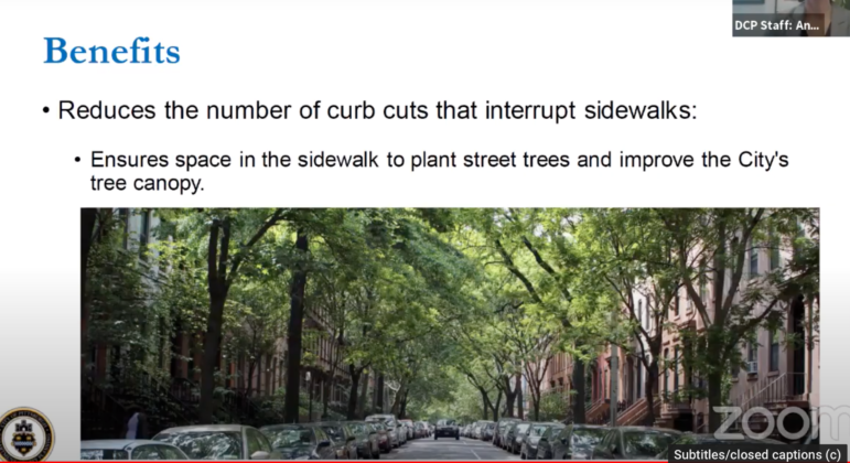 This slide presented by Pittsburgh Department of City Planning staff to the City Planning Commission on Feb. 9. 2021, shows the street trees and on-street parking that many neighborhood advocates prefer over front-yard driveways and garages. (Screenshot)