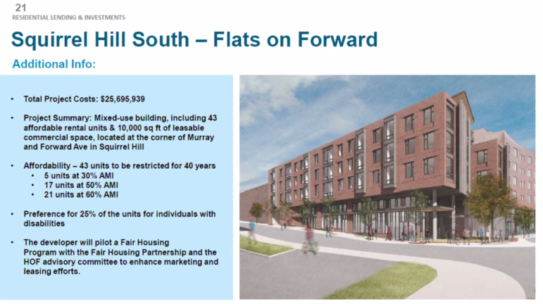 A rendering of Flats on Forward, an apartment building proposed for Squirrel Hill South, presented to the Urban Redevelopment Authority board on Feb. 11, 2011. (Screenshot)