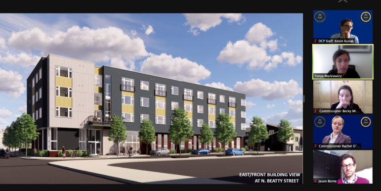 City Planning Commission members consider an artist's rendering of TREK Development's proposed new 42-unit apartment building on North Beatty Street in East Liberty, presented to the commission, via Zoom, on Feb. 23, 2021.
