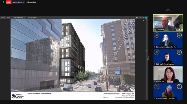 An artist's rendering of Forbes Avenue after the construction of a proposed 10-story apartment building draws thoughtful looks from members of the City Planning Commission, a city planner, and members of the development team, during a commission meeting conducted by Zoom on Feb. 23, 2021. (Screenshot)