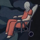 An illustration of a person in a red uniform with a spit hood covering their face and head. They are strapped into a gray chair by their shoulders and ankles. The background is black with dark blue abstract clouds.