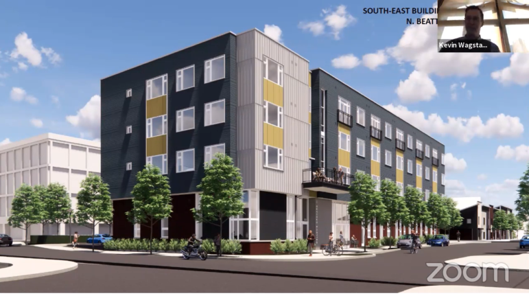 An artist's rendering of a four-story, 42-apartment building proposed by TREK Development for a site that is currently a parking lot in East Liberty, presented to the City Planning Commission on March 9, 2021. (Screenshot)