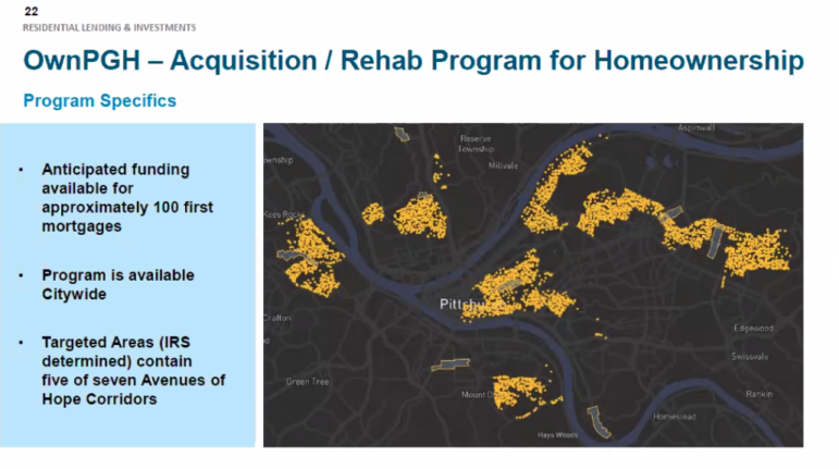 A map showing areas that would be targeted (gold), versus non-targeted (grey), in Pittsburgh Mayor Bill Peduto's Own PGH plan for financing home ownership and rehab, presented to the Urban Redevelopment Authority board in a meeting conducted via Zoom on March 11, 2021. (Screenshot)
