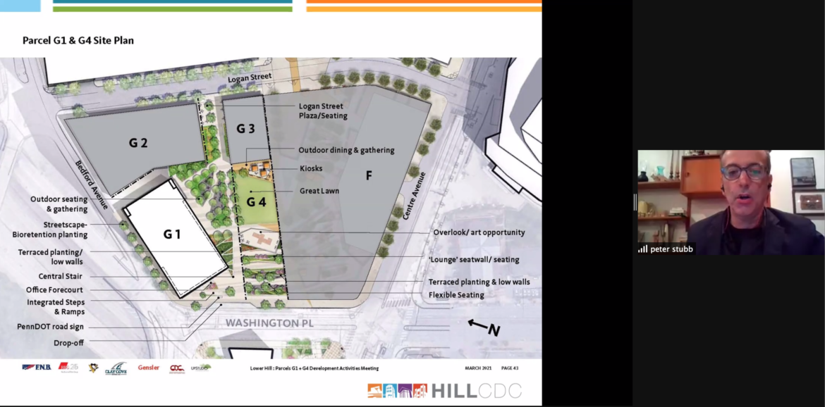 Peter Stubb, a principal at design firm Gensler, shares with Hill District leaders and residents a map of plans for the redevelopment of the former Civic Arena site, in a Development Activities Meeting on March 15, 2021. (Screenshot)