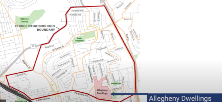 A map of the proposed Allegheny Dwellings Choice Neighborhoods zone, posted by the Housing Authority of the City of Pittsburgh on its website.