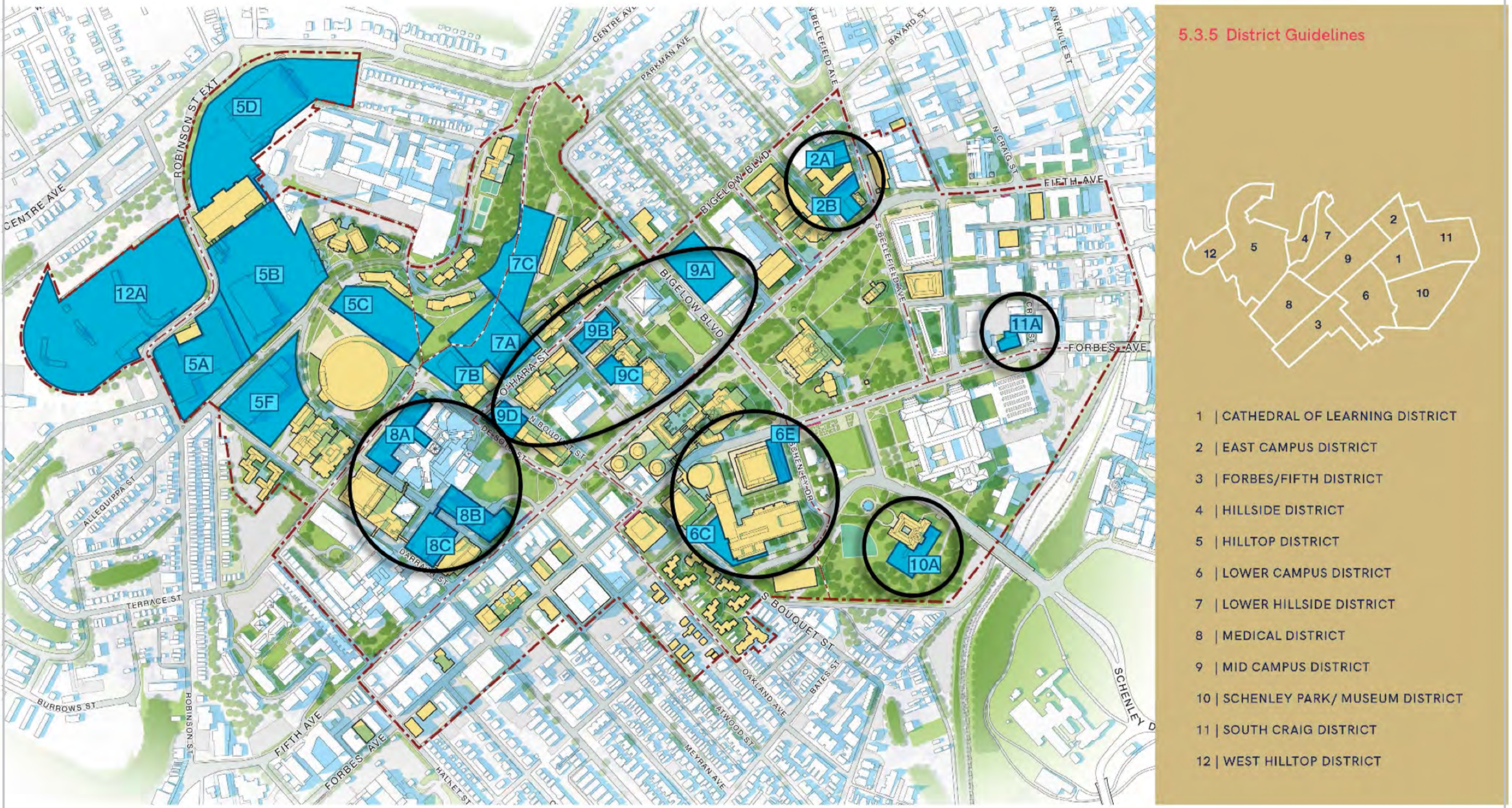 Map showing areas of the University of Pittsburgh campus about which Pitt officials briefed the City Planning Commission on March 23, 2021.