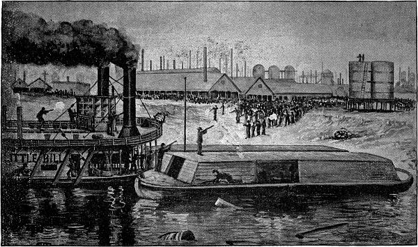 Barges carrying Pinkerton guards arriving in Homestead, PA.
